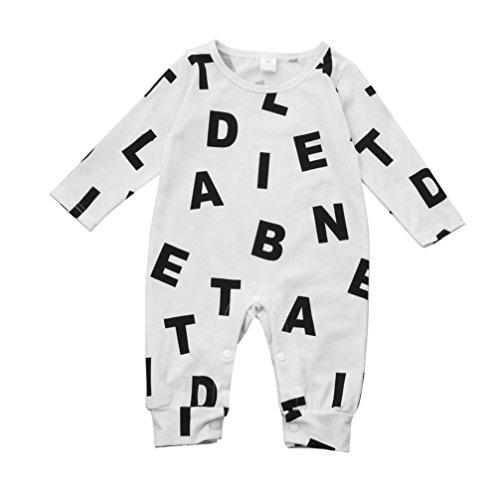 Luckycat Neugeborenes Baby Jungen Mädchen Langarm Brief Strampler Overall Kleidung Outfits (18M--100cm, Weiß)
