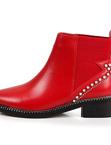CU@EY Da donna-Stivaletti-Casual-Comoda-Piatto-Di pelle-Nero / Rosso red-us6.5-7 / eu37 / uk4.5-5 / cn37