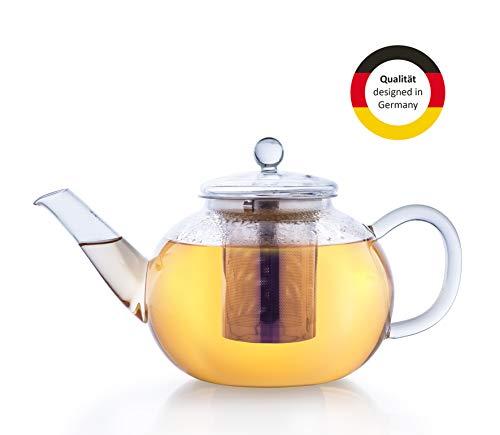 Creano Glas-Teekanne 1,2l 3-teiliger Teebereiter mit integriertem Edelstahl-Sieb und Glas-Deckel, ideal zur Zubereitung von losen Tees, tropffrei, all-in-one