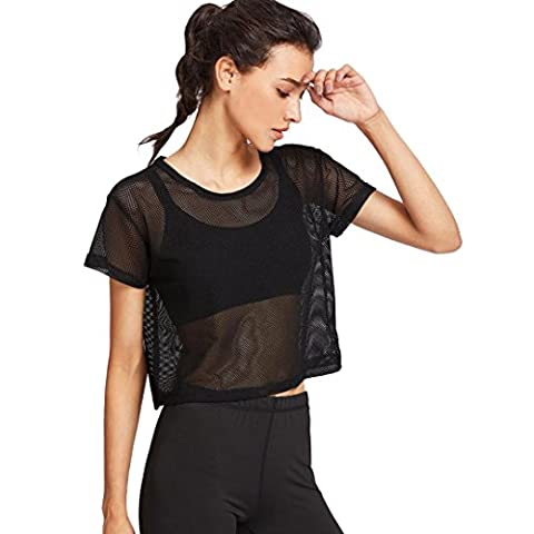 Women Blouse T-shirts, Bestow Women Sports Meshed Black Mesh Cover Up Top Dancing Fitness Shirt Tops (large)