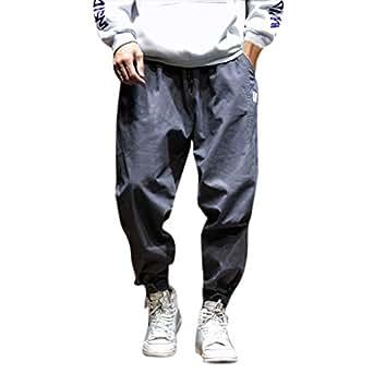 Dragon868 Pantaloni Uomo Cotone Pantaloni Larghi Comode con Tasche Hip-Hop Stile Pantaloni Harem Leggere Traspirante