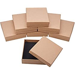 BENECREAT 8 Pack Cajas de Cartón para Joyeria, Elegante Caja de Regalo Rectángulo y Tamaño Medio 12.8 x 10.6 x 3.2cm, Marrón