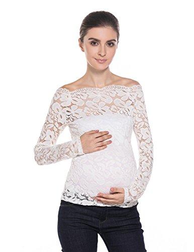 MODETREND Premamá Camisetas Manga Larga Embarazo Blusas de Encaje Flores Lace Crochet sin Tirantes Mujer Mama Camisas de Maternidad