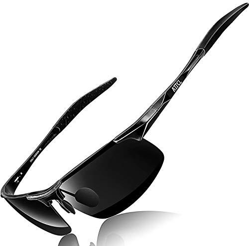 Attcl uomo occhiali da sole polarizzati per guidare gli uomini super light al-mg metal frame 8177 black