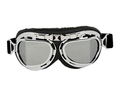 1x Classic Style Steampunk Cosplay Motorcycle Goggles Motorradbrille Aviator Brille Motorrad Sonnenbrille Schutzbrille Retro Fliegerbrille