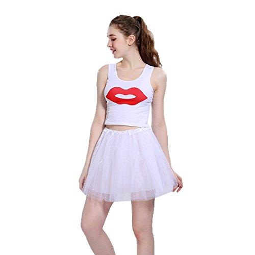 Jiayiqi Femmes Ballet Tutu En Couches Organza Dentelle Mesh Mini Jupe Blanc
