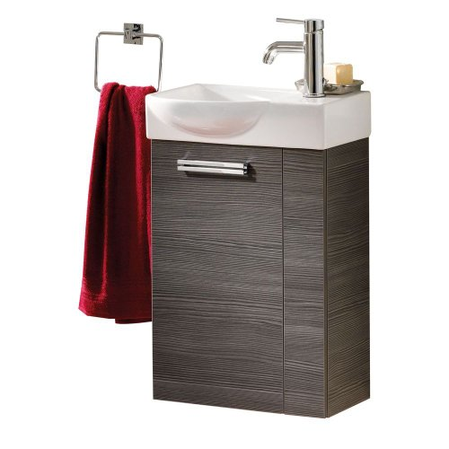 FACKELMANN Gäste WC Waschtisch Como inkl. Keramikbecken, Pinie anthrazit Nachbildung Tür Linksanschlag