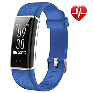 Pruvansay Fitness Tracker mit Pulsmesser, Fitness Armband Color Screen Activity Tracker Fitness-Uhr Wasserdicht IP68 Wetteranzeige Schlaf-Monitor Kalorienzähler Anruf SMS Whatsapp, Schrittzähler