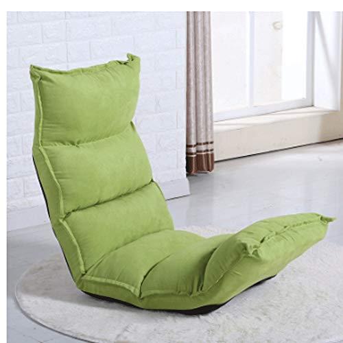 MinMin Tragbare Faltbare Chaise Lounge Sofa - Boden Stuhl Einzelmöbel Wohnzimmer Schlafzimmer Verstellbares Bett Faule Tatami Mat Ye (Color : Green) (Chaise Lounge-sofa-bett)