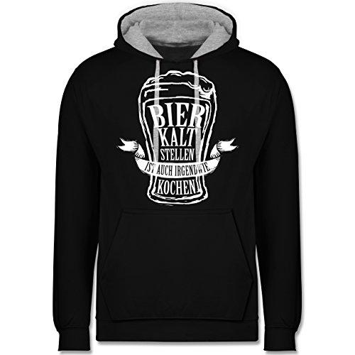 Typisch Männer - Bier kalt stellen ist auch irgendwie kochen - Kontrast Hoodie Schwarz/Grau Meliert