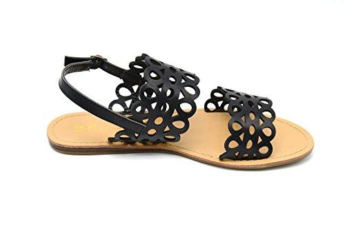 SHS17 * Sandales Plates Nu-Pieds Spartiate Motif Ajouré Style Dentelle - Mode Femme Noir