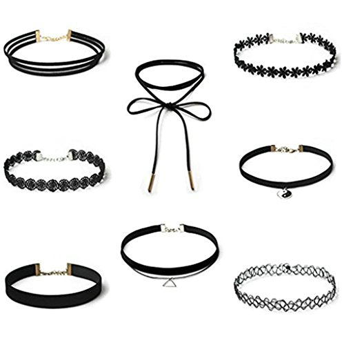 Daesar 8 Pcs Collane girocollo Donna Collana Set Velluto Choker Collana Set, Nero