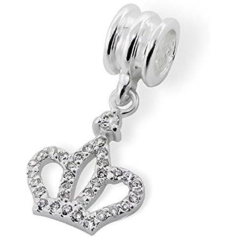 Silvadore-Perline in argento, cristalli e corona Prince Princess Royal Rich Special Hat-Pendente in argento Sterling 925, con ciondolo in 3D su 768 europea, adatto per Pandora, in confezione regalo