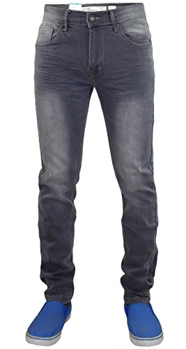 Nouveaux hommes Crosshatch EMACIATED Fit Denim extensible Cinq Pocket Jeans Ouest Grey Wash