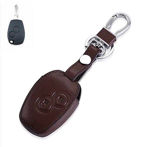 Happyit Leder Auto Fernbedienung Schlüssel Tasche für Renault Clio Scenic Megane Duster Sandero Captur Twingo Modus 2 Tasten (Braun)
