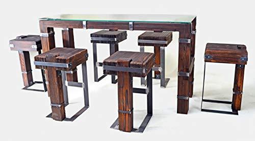 CHYRKA® Esstisch Wohnzimmertisch DROHOBYCZ Hocker Loft Vintage Bar IndustrieDesign Handmade Holz Metall (180x60 cm - Tisch+6Hocker) - Holz Bar Tisch