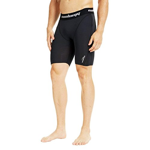 COOLOMG Herren Kompressionsshorts Funktionswäsche Base Layer Hose Kurz Fitness & Training Jogging Schwarz M