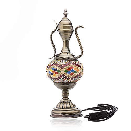 Türkei marokkanischen osmanischen Stil Mosaik Teekanne-förmige Tischlampe handgemachte Glas Schlafzimmer Restaurant Café Dekoration Lampe,a -