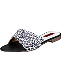 1 WALK Comfortable Women-Flats/Fashion Slippers/Casual Footwear/Black And White Bowed Slip-on/MP-F1000(A)-$P