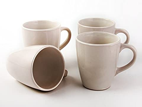 Set of 4 Large 12 fl oz Ivory Stoneware Mugs - Sienna Collection by Premier Housewares