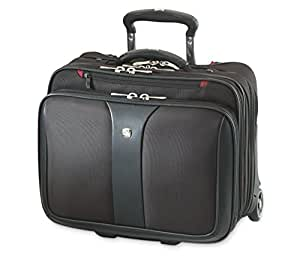 """Wenger 600662 PATRIOT 17"""" 2-Piece Business Wheeled Laptop Briefcase , Padded laptop compartment with Matching 15.4"""" Laptop Case in Black {38 Litres}"""