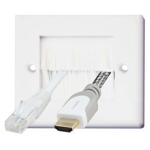 Beetronic Brush Wall Plate Outlet Cable Entry Faceplate - White Black Silver Wallplate - White Black Brushes (Single (1 Gang), White / White) Test