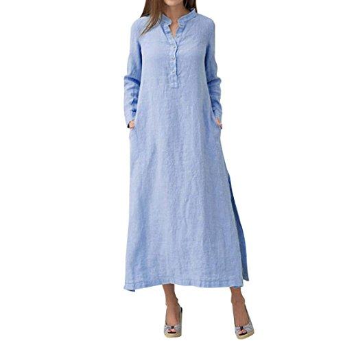 Tragen Sie Kaftan (QinMM Damen Kaftan Baumwolle Langarm Plain Casaul Oversized Maxi Langes Hemd Kleid Sommer Autunm Stylish Freizeitkleid Knöchellangen Stehkragen Blau Weiß S-XL (S, Blau))
