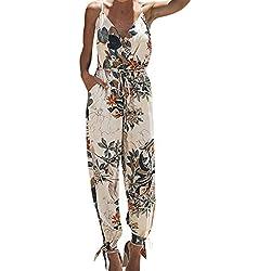 Combinaisons Femme Été,Honestyi Imprimé Fleur Combi Longue Femme Robe Soirée Sexy Collants Fille Playsuit sans Manches Col V Jumpsuit Boheme Chic Pantalons De Plage Combinaisons