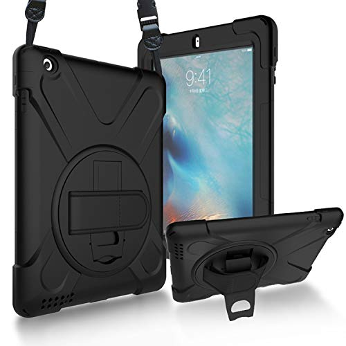 ProCase iPad 2 3 4 Hülle Case Handschlaufe [360° Handschlaufe Kickstand, Stylus-Halter] (Alt Model), Stoßfest Schutzhülle Cover mit Verstellbar Riemen Schultergurt für iPad 2/iPad 3 /iPad 4 -Schwarz