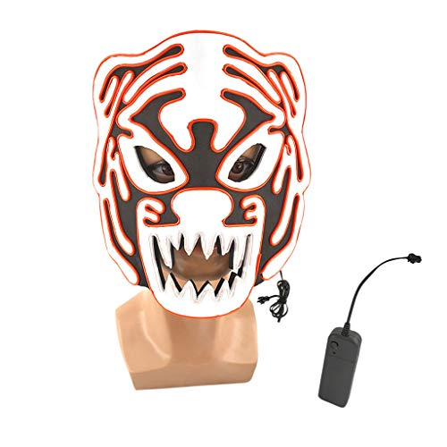 Hffan Halloween Maske Led Masken Glühen Gruselige Maske Leuchten Cosplay Maske Masquerade Requisiten Party Kostüm Gesichtsmaske Cosplay Karneval Masken (Awesome Wolf Kostüm)