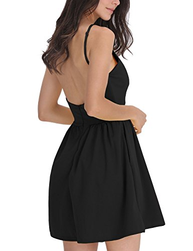 Fancyinn® Frauen Backless Spaghetti Strap Blumen Print Kurz Mini Casual Kleid Black