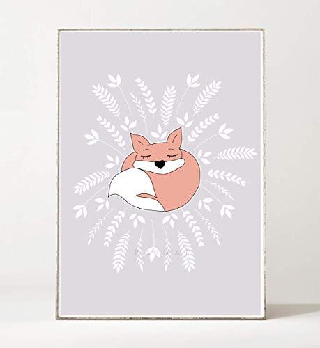 Traum-blatt (DIN A4 Kunstdruck Poster FUCHS TRÄUME 02 -ungerahmt- Bild, Kinderzimmer, Waldtier, boho)