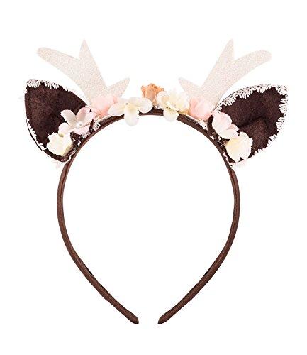 SIX Reh Haarreifen, mit Blumenkranz, für Reh Kostüm (315-668)