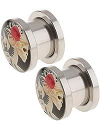 F Fityle 2x Túnel de Orejas Ensanchador de Oídos Patrón de Calavera joyas de Cuerpo para