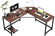 DlandHome L-Shaped Computer Desk 59 inches x 59 inches, Composite Wood and Metal, Home Office PC Laptop Study