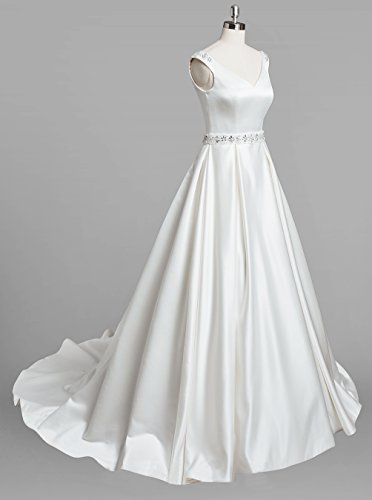Dresstells, Robe de mariée forme marquise col en V sans manches traîne moyenne Blanc