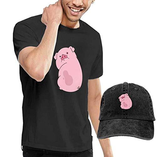 BAQQC Herren Kurzarmshirt Go Vegan Pig Vintage Fashion Men's T-Shirt and Hats Youth & Adult T-Shirts -