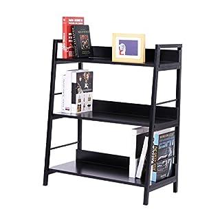 HOMCOM Leaning Ladder Bookshelf Bookcase Shelving Wooden Rack Storage Wall Shelf Organizer Display Black (3 Tiers)