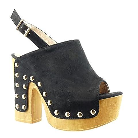 Angkorly - Chaussure Mode Sabot Sandale plateforme femme clouté bois Talon haut bloc 12.5 CM - Noir - PN1561 T 38