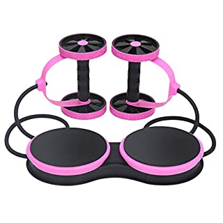 Kaiyei AB Roller Exercises Machine Abdominal Fitness Wheel Workout Abb Elastic Drawstring Twist Waist Plate Multifunction Exercise Equipment Pink
