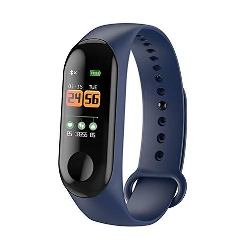 LIUMSJ 2019 smart armbänder m3 smart Armband Frauen männer anruf informationen Erinnerung herzfrequenz Sport wasserdichte farbdisplay smart Armband für (Color : Blue with Box) (Anpassbare Uhren-box)