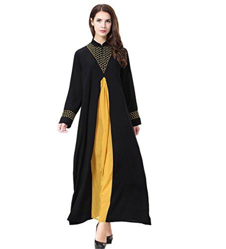 Dreamskull Damen Frauen Muslim Abaya Dubai Muslimische Kleid Kleidung Kleider Arab Arabisch Indien Türkisch Casual Abendkleid Hochzeit Kaftan Robe Lang Maxikleid S-3XL (XXXL, Gelb)