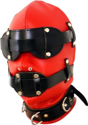 Bondage Leder BDSM Erotik Kopf Maske in rot schwarz mit Mund Knebel und Augenbinde Kopfmaske