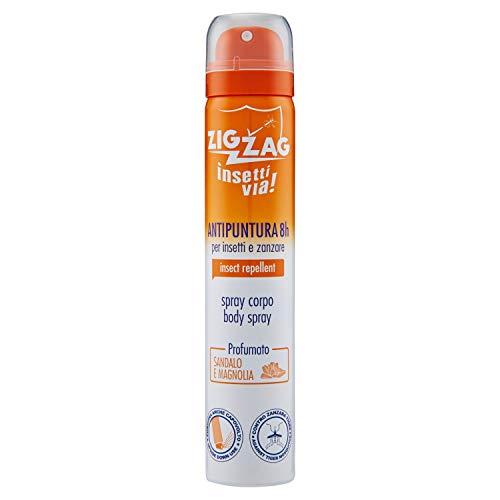 Zig Zag, Repellente, Insetti, Spray Corpo Insettivia al profumo di Sandalo e Magnolia, repellente per zanzare,zanzare tigre,zecche, 100 ml