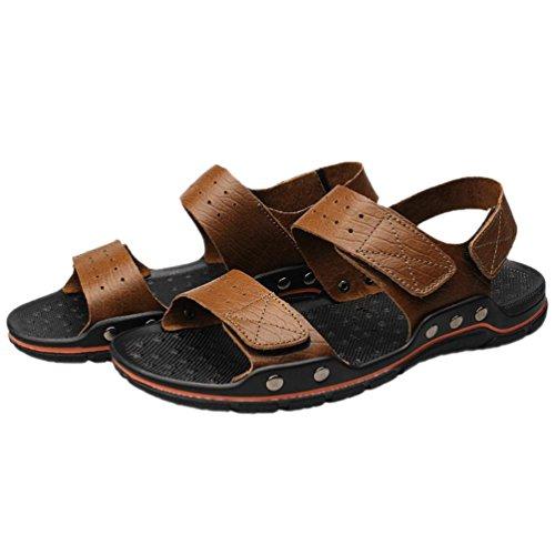 SHANGXIAN Été anti-dérapant hommes Flip Flops occasionnels sandales en cuir (deux sortes de tees) Kaki