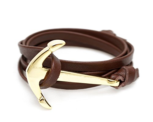 ZXEBA OUTDAZZLE Designer Brown Leatherite ANCHOR Women Bracelet - Gold