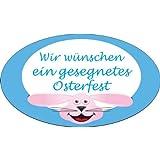 Ostern-Aufkleber Sticker Wir wünschen ein gesegnetes Osterfest Größe: 3,5 x 2,4 cm oval, selbstklebende Folie, 500 Stück pro Rolle