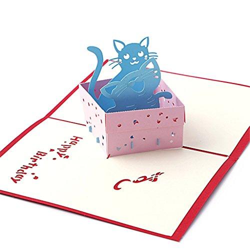 Llwei258 3D Pop Up Glückwunschkarte handgefertigt Happy Birthday Merry Christmas Karte