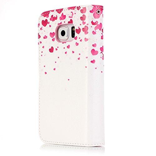 BoxTii® - Custodia in pelle PU a portafoglio con cover in silicone per Apple iPhone 6/iPhone 6s, con supporto, con 6 porta tessere, funzione chiusura magnetica staccabile, Ecopelle, #7 Love, Samsung G #7 Love