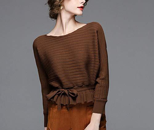 Stricken Pullover Frauen 2018 Winter Herbst Mode Pullover Flügelhülse Pullover Weibliche Lose Oansatz Jumper Femme,Coffee,M